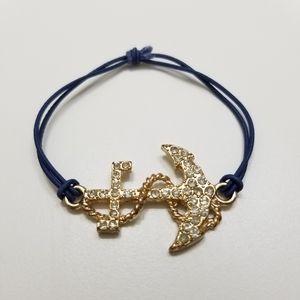 Gold Bejeweled Anchor Elastic Stretch Bracelet